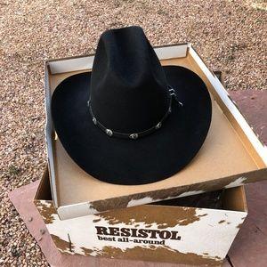 a340ec673f4 Resistol Quicksilver Black 4X Felt Hat 7 3 8